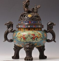 Chinese Bronze and Enamel Cloisonne Lidded Tripod Censer, Foo Lion Forms on Lid, Handles, and Feet with Bronze and Enamel, Cloisonne Body