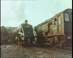 """The famous streamlined A4 locomotive, the """"Mallard"""", pulls out of a station in this montage of steam power from the 1970s: http://www.britishpathe.com/video/steam-power"""