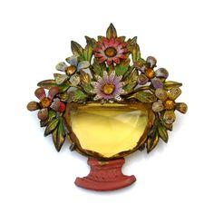 Czech Style Flower Basket Brooch Vintage 1930's Glass Rhinestone Enamel Floral x