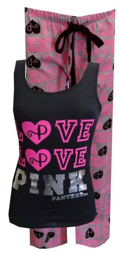 LOVE PINK Panther Black Tank and Gray Capri Pajama, $24 Do you LOVE Pink Panther? There is lots to love about that cool cat! These fun, junior cut pajamas feature a black tank top with silver metallic lettering for Pink Panther and is 100% cotton. The gray capri length pants have an elastic waistband with adjustable drawstring tie.Machine washable and easy to care for. Junior cut.
