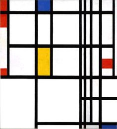 Compostion in Red, Blue, and Yellow. Piet Mondrian. De Stijl/Neoplasticism. Seeking the Absolute in primary colors and rectilinear forms.
