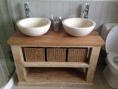 Handmade Solid Oak Bathroom Vanity Unit-Washstand - Rustic Furniture in Home, Furniture DIY, Bath, Bathroom Suites | eBay