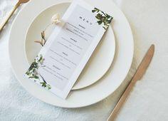 Wedding menu to match your entire set Botanical Wedding Invitations, Wedding Invitation Inspiration, Wedding Invitation Cards, Wedding Menu, Rustic Wedding, Perfect Wedding, Place Card Holders, Creative, Wedding Invitations