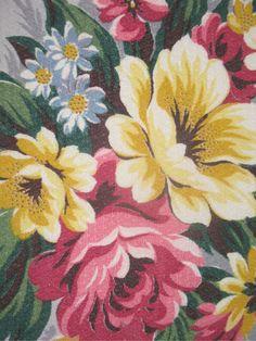 Vintage Barkcloth - floral bouquet