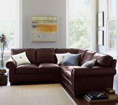 Pottery Barn Turner Roll Arm Leather 3 Piece L Shaped Corner Sectional  ($5,595) ❤ Liked On Polyvore Featuring Home, Furniture, Sofas, Rooms,  Backgru2026