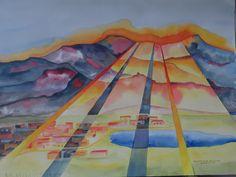 """Sunrise over Blue Lake (18 x 24) 1996 Watercolor by Colin Claxon"