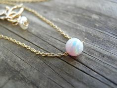 Bridal White Pink Opal Necklace Tiny One 4mm by AnnalisJewelry