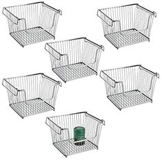Amazon.com: mDesign Modern Stackable Metal Storage Organizer Bin Basket with Handles, Open Front for Kitchen Cabinets, Pantry, Closets, Bedrooms, Bathrooms, Large, 6 Pack - Silver: Kitchen & Dining Wire Basket Storage, Wire Storage, Food Storage, Freezer Storage, Kitchen Pantry Storage, Vertical Storage, Thing 1, Space Saving Storage, Household Items