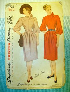 1940s Simplicity 1726 Sewing Pattern Dress with by TheBerryBobbin