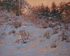 December Glitter by Barbara Jaenicke Oil Painting Snow, Winter Painting, Winter Landscape, Landscape Art, Winter Pastels, Oil Pastel Paintings, Thing 1, Portraits, Acrylic Art