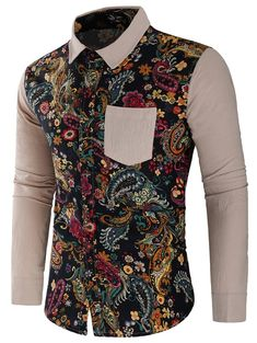 Paisley Print Patchwork Long Sleeve Shirt - Light Khaki - - Men's Clothing, Men's Tops & T-Shirts, Men's Shirts # # African Shirts For Men, African Dresses Men, African Tops, African Clothing For Men, African Men Fashion, African Style, Mens Shirts Sale, Men's Shirts, African Print Shirt