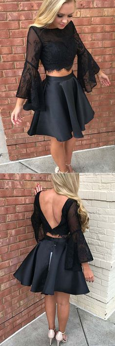 Lace Evening Dresses, Two Pieces Evening Dresses, Short Prom Dresses, Homecoming Dresses Black Lace Prom Dresses, Black Prom Dresses 2 Piece Homecoming Dresses, Prom Dresses Long With Sleeves, Hoco Dresses, Black Prom Dresses, Formal Evening Dresses, Trendy Dresses, Cheap Dresses, Fashion Dresses, Dress Prom