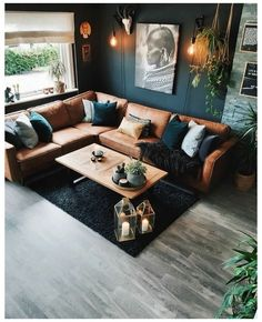 Home Living Room, Living Room Designs, Living Room Decor, Living Spaces, Dark Living Rooms, Living Room Colors, Living Room Modern, Kitchen Living, Loft Design