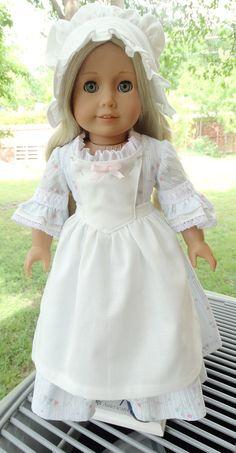 18 « poupée Vêtements robe de Style Colonial, casquette et Pinner tablier convient à American Girl Felicity, Elizabeth, Caroline