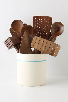 Minimalist Utensil Jar - from Anthropologie.com - I like this jar...but I LOVE the wooden utensils even more! Wish I could find them!