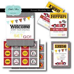 Ferrari Birthday Invite and Set, DIY Printables. $35.00, via Etsy.