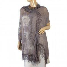 Cotton Polyester Stitching Half Embroidered Flowers & Solid Box Hand Knitted Tassels Asymmetric Lace Long Scarf