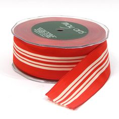 """1.5"""" Red with Ivory striped ribbon.  Wired Edge.  #3411234025"""