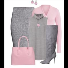 A fashion look from November 2014 featuring oversized turtleneck, pink cardigan and slit skirt. Browse and shop related looks.--- I would not wear the necklace with this outfit other than that perfect ; Classy Outfits, Chic Outfits, Fall Outfits, Fashion Outfits, Womens Fashion, Fashion Trends, Modelos Fashion, Elegantes Outfit, Grey Outfit