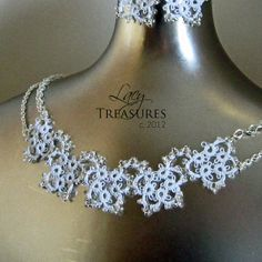 Tatted Beaded Collar Necklace . Handmade Lace . by LacyTreasures, $60.00