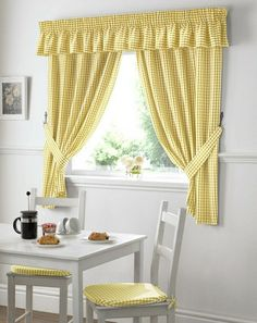 White cozy flirty yellow curtains checkered country style kitchen small window Coffee Croissants