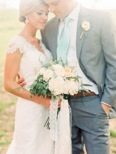 Lace wedding dress, grey suit with mint tie, lace ribbon, bridal bouquet, Raleigh Wedding, wedding photography, Nancy Ray Photography, Blog - Whiskey & White
