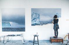 """B-15Y Iceberg, Antarctica no.2"" (In progress), Soft pastel on paper, 60"" x 90"", 2017"