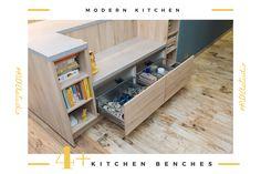 #placestositdowninkitchen #kitchenbench #modernkitchen #kitchendesign #kitchenfurniture #islandkitchen #wooddetails  #kitchenideas #KUXAstudio #KUXA #KUXAkitchen #bucatariemoderna #bucatarie Kitchen Benches, Furniture, Storage, Design, House, Home Decor, Store, Haus, Home Furnishings