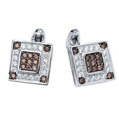 .925 Sterling Silver Coffee and White Zirconia Micropave Cufflinks For Men #GemStoneKing