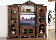 """Mallory Entertainment Center for TVs up to 40 """" - TV Entertainment Centers - Entertainment Center Furniture, Entertainment Center Wall Unit, Cool Tv Stands, Antique Hardware, Types Of Doors, Decoration, Old World, Cool Furniture, Behance"""