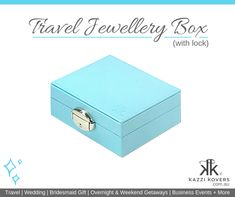 Kazzi Kovers Travel Jewellery Box (with lock) is all you need! Whether you're travelling overnight, the weekend or an extended holiday, these compact and lightweight boxes are the perfect travel companion. Available in blue, pink, black and mauve.