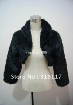 Free Shipping Black Faux Fur Wrap Coat Bridal Shawl/ Wedding Accessories/Bride shawl $25.98
