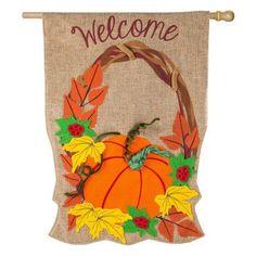 Evergreen Flag Autumn Pumpkin Wreath House Flag - 13B4544BL