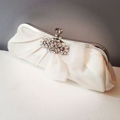 Lily Bridal Clutch - light ivory - personalized - made to order on Etsy, $138.00
