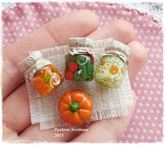 A set of miniature jars with small pumpkin