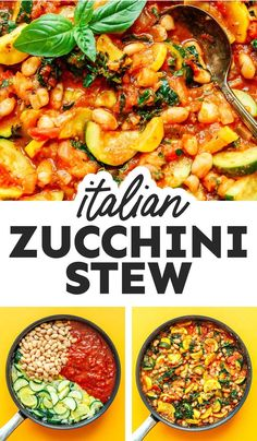 Fill up on nutritious veggies with this Zucchini Stew recipe. It's a powerhouse meal complete with navy beans, basil, and kale! An easy dinner recipes that's full of flavor, healthy, and perfect for the whole family. #vegan #vegetarian #glutenfree Vegetarian Recipes Dinner, Vegan Dinners, Easy Dinner Recipes, Summer Recipes, Vegan Vegetarian, Vegetarian Italian, Food Dinners, Vegan Soup, Dinner Ideas