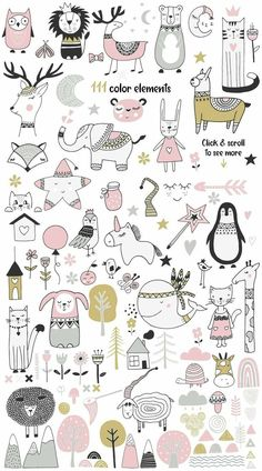 Skandinavisch für Mädchen von JB ART im Kreativmarkt Doodle Drawings, Cute Drawings, Doodle Art, Animal Drawings, Wallpaper Gatos, Animal Doodles, Baby Drawing, Drawing Drawing, Motif Floral