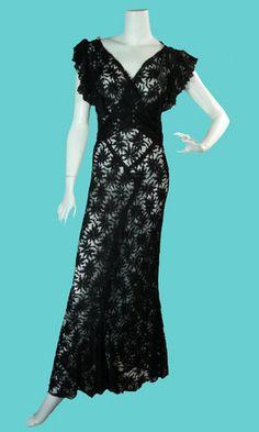 Vintage black lace dress, 1930s