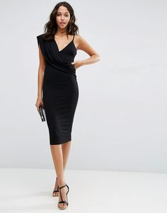 Image 1 of ASOS One Shoulder Cami Cowl Front Midi Bodycon Dress