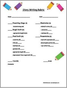 3 Writing Rubrics. Two story writing rubrics and one compare/contrast writing rubric. Great for grades 3-8!