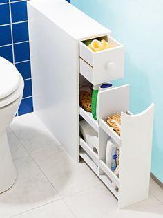Este mueble de baño, de tan sólo 16 cm de ancho, es ideal para guardar y tener perfectamente organizados tus productos de limpieza, cosmética... en el - Venca - 779224