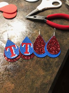 Texas Rangers Blue and Red Glitter Faux Leather Earrings Diy Earrings, Leather Earrings, Button Earrings, Texas Rangers, Rangers Baseball, Leather Projects, Leather Crafts, Leather Pieces, Custom Jewelry