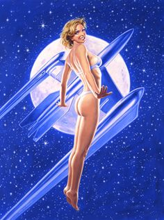 Fly Me To The Moon, pin up, Greg Hildebrandt