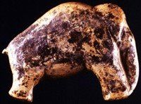 Ivory Carving of Mammoth, Vogelherd  Cave, from about 33,000 BCE. A rare  treasure of prehistoric sculpture