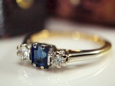 1930s 18k Sapphire Diamond Ring,  Vintage Engagement Ring, Size 5 1/8, Dia 0.14cts, 2.30gms on Etsy, $435.15