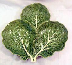 Vintage Majolica Bordallo Pinheiro Green Cabbage Divided Serving Dish #BordalloPinheiro