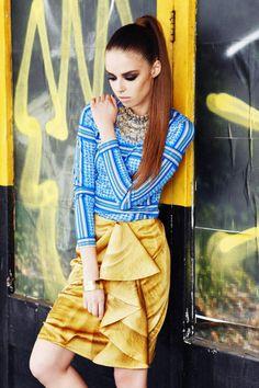 Sanna Naapuri Autumn/Winter Look 3: Details. Keffiyeh print Jersey top with Shamal print draped skirt.
