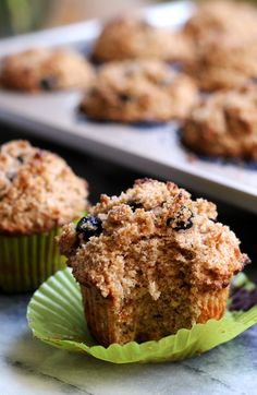 Whole Wheat Blueberry Muffins by joanne-eatswellwithothers: These whole wheat blueberry muffins make eating healthy look and taste good. Made with all whole wheat flour and topped with a delicious streusel, they are a breakfast treat to feel good about eating. #Muffins #Blueberry #Whole_Wheat-