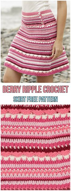 Berry Ripple Crochet Skirt Free Pattern