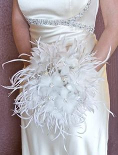 Feather wedding bouquet with crystal accents